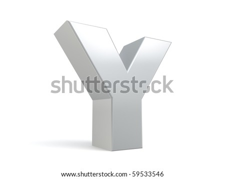 letter Y in metal - stock photo