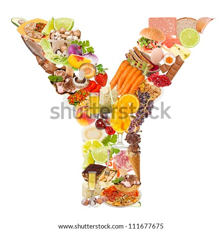 Letter Y made of food isolated on white background