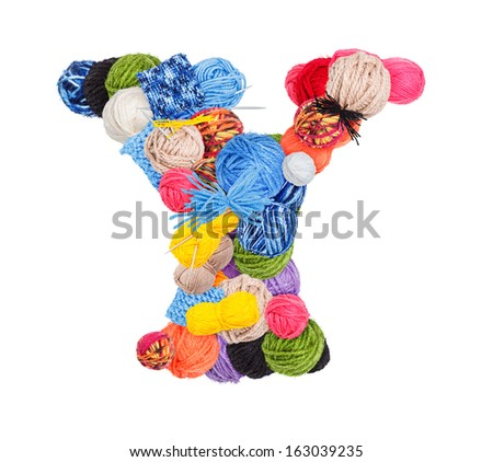 Letter Y made of knitting yarn isolated on white background - stock photo