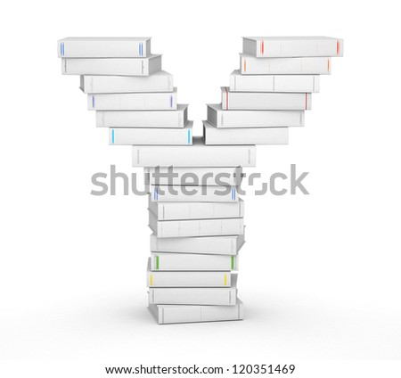 Letter Y, stacked from many blank title books in column - stock photo