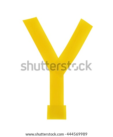 Letter Y symbol made of insulating tape pieces, isolated over the white background