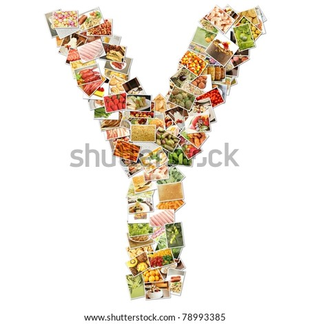 Letter Y with Food Collage Concept Art - stock photo