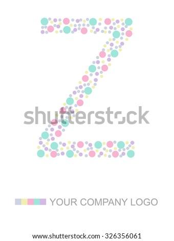 Letter Z Alphabet design polka dot , - stock photo