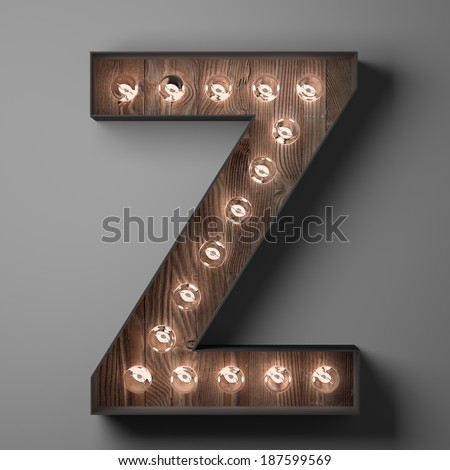 Letter Z for sign with light bulbs - stock photo