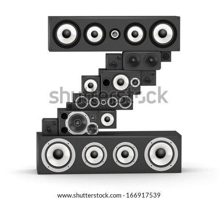 Letter Z from black hi-fi speakers sound systems - stock photo