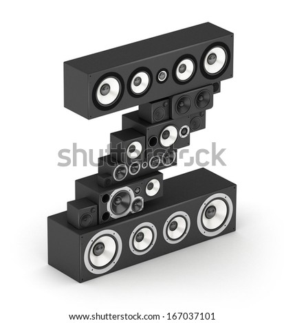 Letter Z from black hi-fi speakers sound systems  in isometry - stock photo