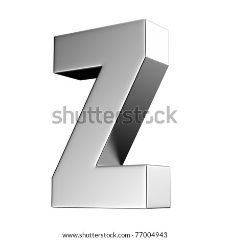 Letter Z from chrome solid alphabet. There is a clipping path