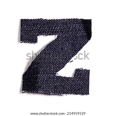 Letter Z. Jeans alphabet Isolated on White. Handmade font. - stock photo