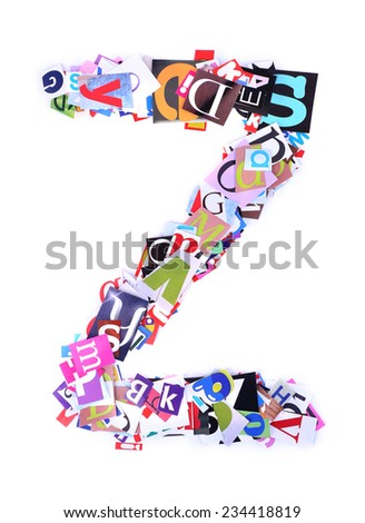 Letter Z made of colorful newspaper letters isolated on white - stock photo