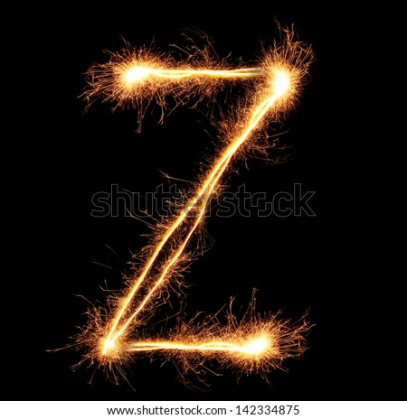 "Letter ""Z"" sparklers on black background - stock photo"