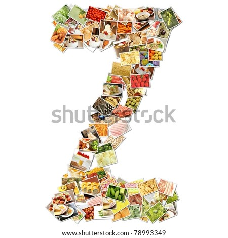 Letter Z with Food Collage Concept Art - stock photo