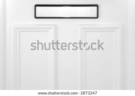 Letterbox on a white door, concepts - mail,communication,correspondence. - stock photo