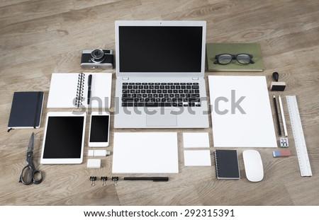 Letterhead, logo and webdesign mockup - stock photo