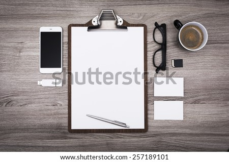 Letterhead or menu design. Stationary mockup - stock photo