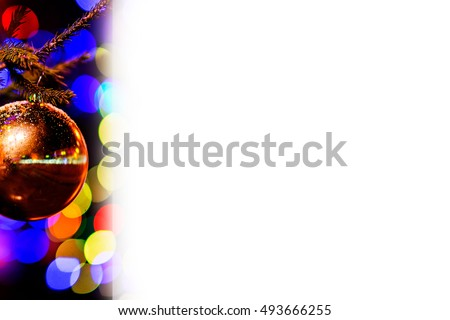 Letterhead with Christmas tree, glass decoration ball covered with snow and colorful circles. Can be used as a letterhead or for any kind of signs. Holiday and Christmas theme