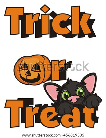 lettering trick or treat and a black cat and a small pumpkin