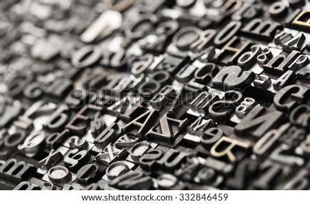 Letterpress background, close up of many old, random metal letters with copy space