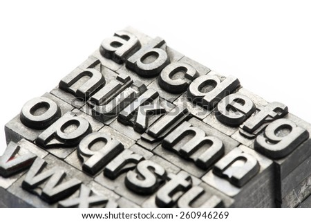 Letterpress - block letter English alphabet and number - stock photo