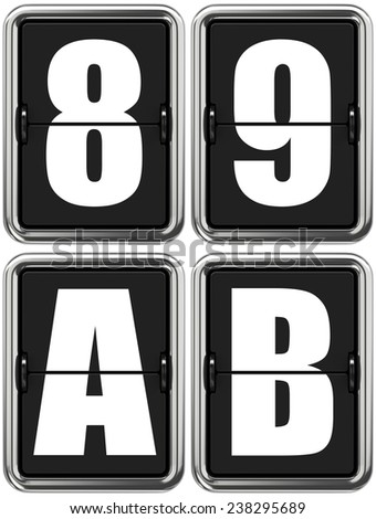 Letters A, B, and Digits 8, 9. Set of Alphabet and Digits on Mechanical Scoreboard. - stock photo