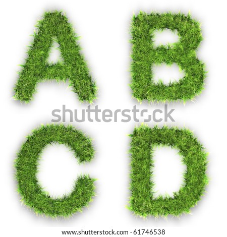 Letters a,b,c,d made of green grass isolated on white