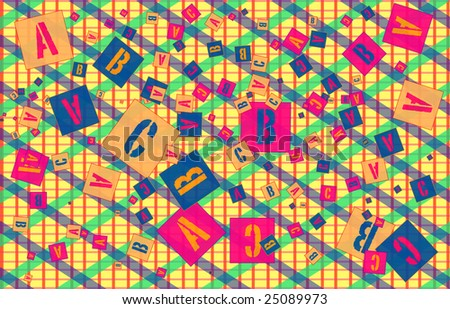 Letters ABC scattered randomly scattered on a yellow grid with diamond pattern.