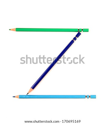 Letters and numbers alphabet of colored pencils - stock photo