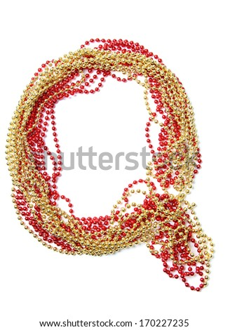 Letters and numbers alphabet of red and gold beads on a white background