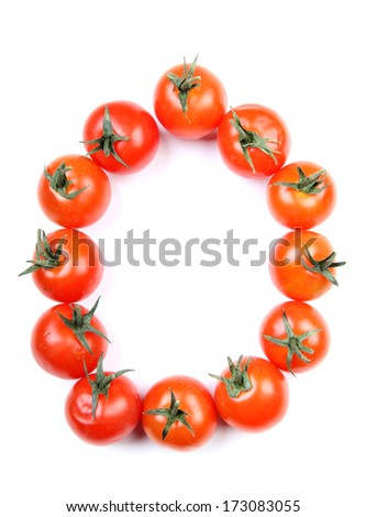 Letters and numbers alphabet of red tomatoes - stock photo