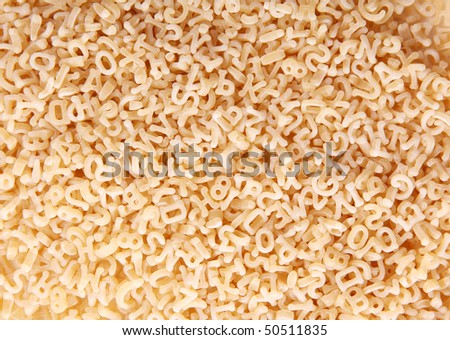 Letters and numbers shapes. pasta food image - stock photo