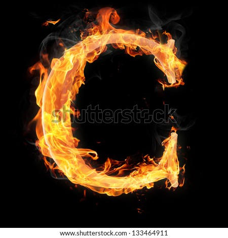 Letters and symbols in fire - Letter C.