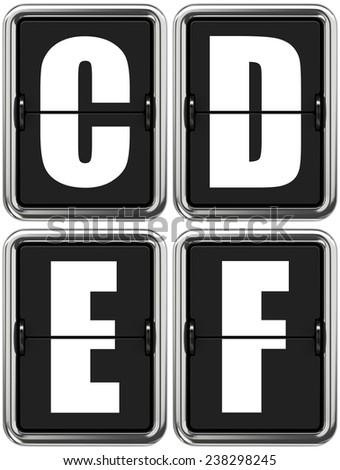 Letters C, D, E, F - Set of Alphabet on Mechanical Scoreboard. - stock photo