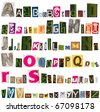 letters cut from magazines, alphabet - stock photo