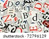 letters cut from newspaper, background - stock photo
