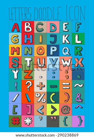 LETTERS doodle icon alphabet signs symbols shadow simple drawing color E - stock photo