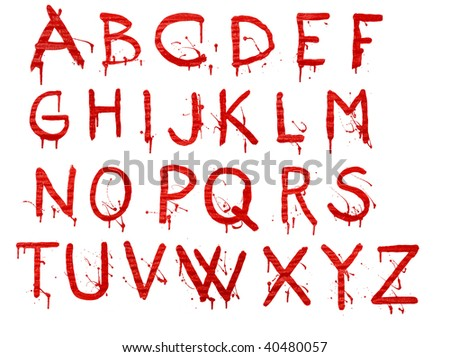 Letters dripping with blood on white background - stock photo