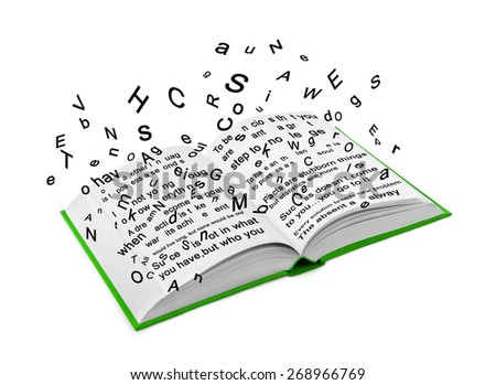 Letters flying out of an open book - stock photo