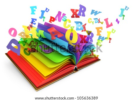 Letters flying out of an open book. Magic book. Fairy tale. White background. 3d render - stock photo