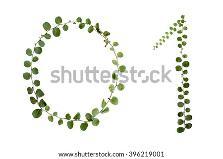 "Letters font number ""0,1"" from climber leaf, ivy leaf, green leaf on isolated."