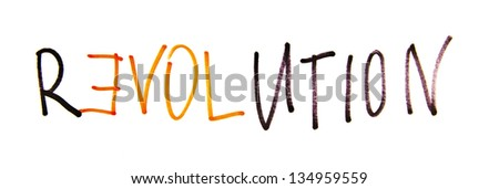 letters forming a word game with the word revolution - stock photo