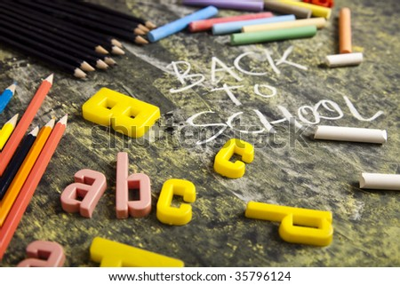 Letters from alphabet & Chalkboard