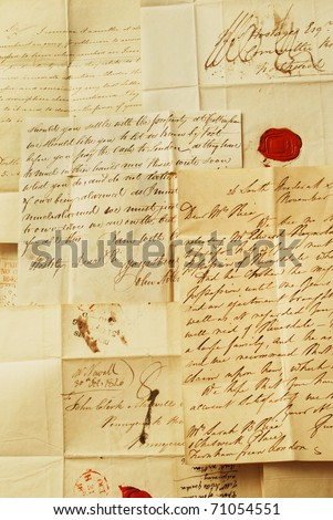 Letters from 1800's, example of handwriting - stock photo