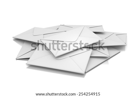 Letters Heap 3D Illustration on White Background - stock photo