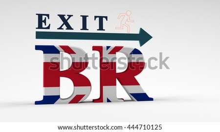 Letters illustrating the exit of UK from the European Union. 3D render