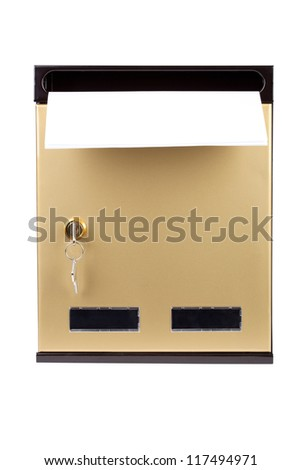 Letters in gilded mailbox isolated on white background. - stock photo
