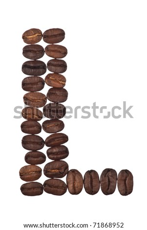 letters made of coffee beans on the white background