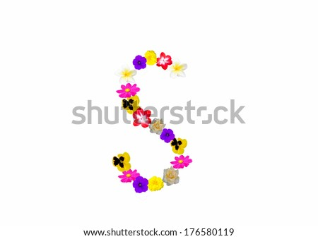 Letters made of flowers on a white background.
