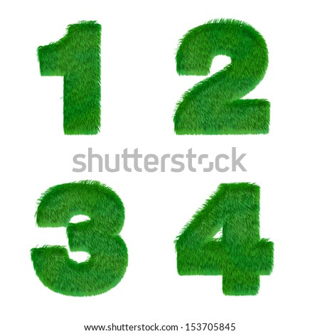 Letters 1,2,3,4 made of green grass isolated on white - stock photo