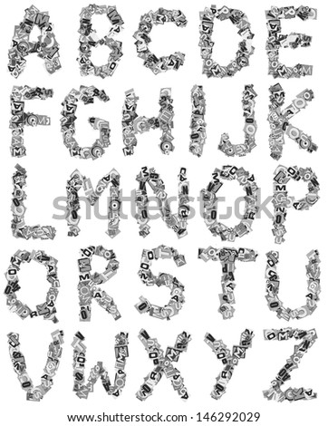 letters made of newspaper clippings - stock photo