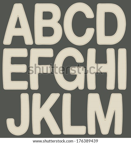 Letters made with fabric A_M. Illustration of alphabet letters (from A to M), with fabric texture. - stock photo