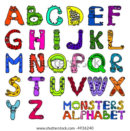 Letters of english alphabet shaped as monsters
